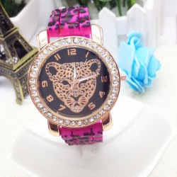 Crystal Leopard Silicone Band Wrist Watch