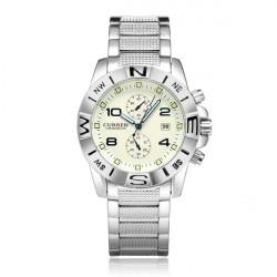 Curren 8038 Silver Date Calendar Number Round Men Wrist Quartz Watch