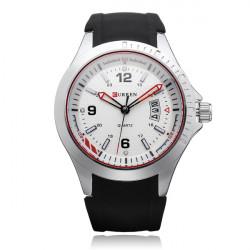 Curren 8102 schwarzem Silikon Militär große Zifferblatt Männer Quarz Armbanduhr
