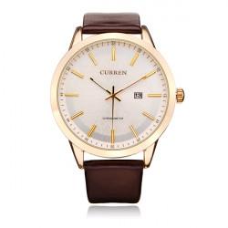Curren 8114 Brown PU Leather Date Gold Round Men Wrist Quartz Watch