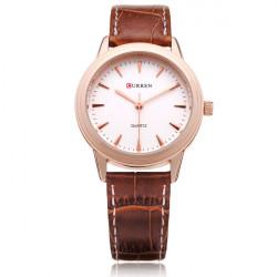 Curren 8119 Brown PU Leather Round Gold Women Quartz Wrist Watch