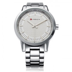 Curren 8131 Silver Stainless Steel Big Dial Men Quartz Wrist Watch