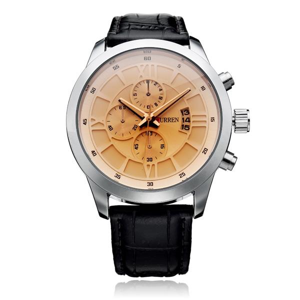Curren 8137 Black Brown PU Leather 3 Dial Roman Men Quartz Wrist Watch Watch