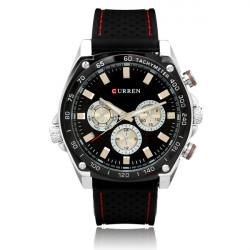 Curren 8146 Rubber 3 Dial Military Round Men Quartz Wrist Watch