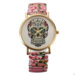 Cute Fashion Man Woman Stripe Big Dial Elastic Band Round Wrist Watch Watch