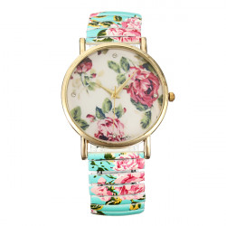 Cute Fashion Woman Stripe Big Dial Elastic Band Round Wrist Watch