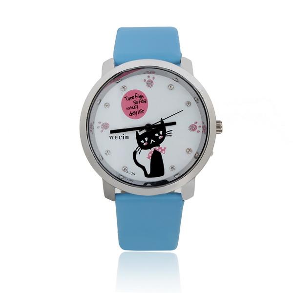 Söt Läder Katt Crystal Fotavtryck Dam Alloy Quartz Armbandsur Klockor