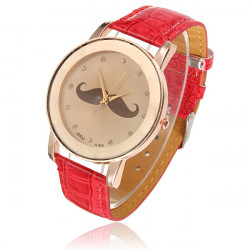 Cute Mustache Crystal Leather Women Quartz Bracelet Watch Stylish