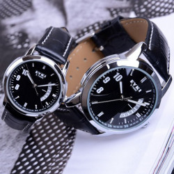 EYKI Stylish Black PU Band Lovers Couples Wrist Watch