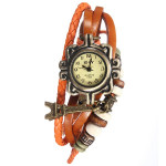Effiel Turm Perlen Verpackungs Leder Weave Frauen Quarz Uhr Uhren