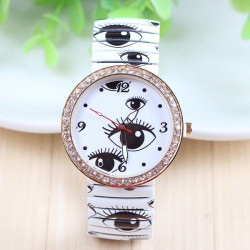 Elastic Band Eyes Printed Rhinestone Quartz Watch