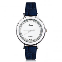 Elegant Crystal Rhinestone Leather Women Wrist Watch Silver