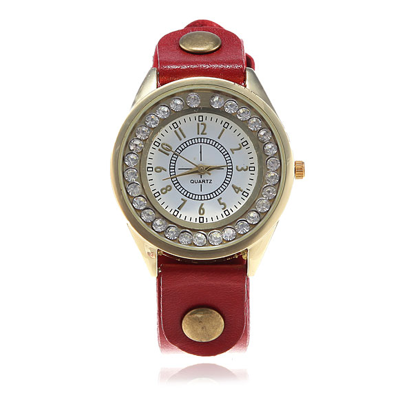 Eyki Rhinestone Diamond Shinning Leather Quartz Wrist Watch Watch