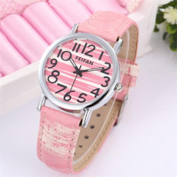 FEIFAN Fashion Women Waterproof Striped Dial Leather Quartz Watch