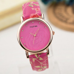 FEIFAN Flower PU Band Crystal Waterproof Quartz Watch