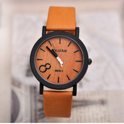 FEIFAN Vintage Number 8 PU Band Waterproof Quartz Analog Watch