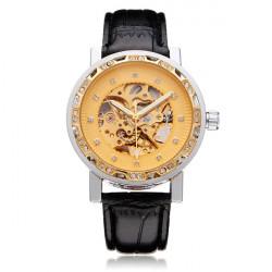 FORSINING Crystal Gold PU Leather Mechanical Flywheel Men Wrist Watch