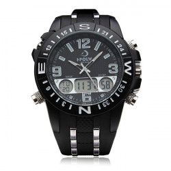 FS810 Hpolw Big Dial Military Black Stainless Steel Men Wrist Watch
