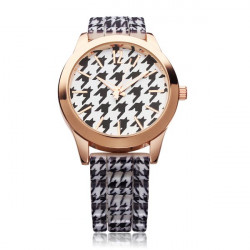 Fashion Bird Hound Tooth Silicone Women Quartz Wrist Watch
