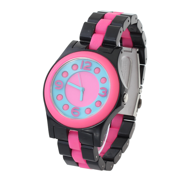 Fashion Svart Rostfritt Stål Dot Antal Dam Quartz Armbandsur Klockor