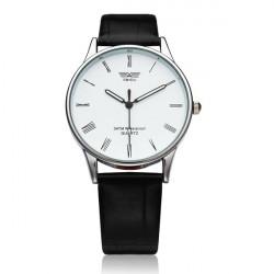 Mode Schwarz weißes Leder Mann Frauen Quarz Armbanduhr