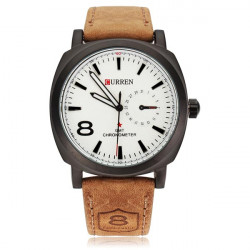 Mode CURREN 8139 Schwarz Weiß Sport Militär Leder Mann Armbanduhr