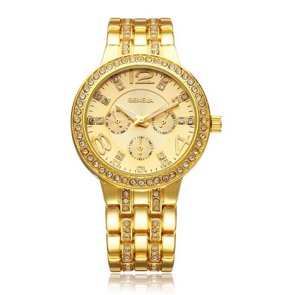 Arbeiten Sie Kristall 3 Dial Edelstahl Frauen Quarz Armbanduhr Uhren