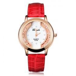 Mode Crystal Rhinestone Blå Röd Rund Dam Som Läder Armbandsur