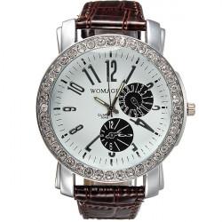 Mode Crystal Rund Urtavla Luminous Pointer Läderklocka Armbandsur