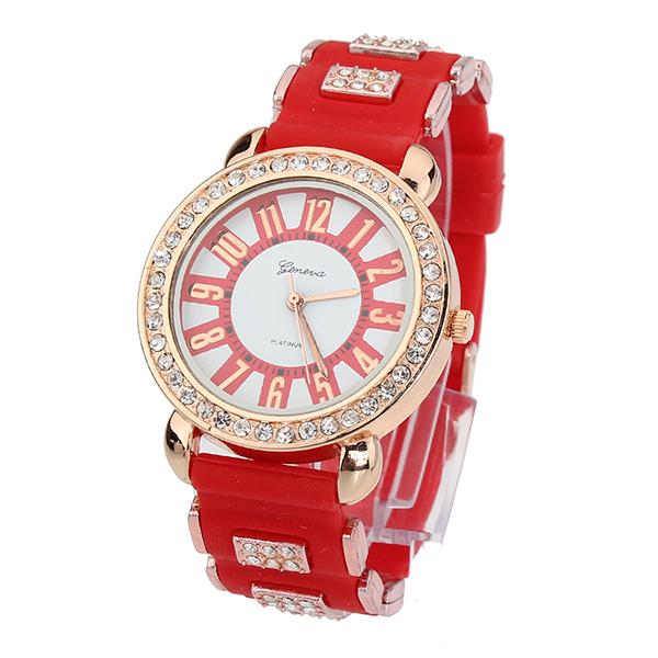 Art und Weise elegante Analog Strass Gummiquarz Frauen Armbanduhr Uhren