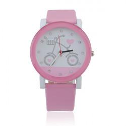 Fashion Leather Bicycle Crystal Heart Women Quartz Wrist Watch
