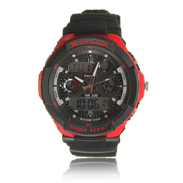 Fashion Man PU Läderrem Sport Digital Quartz Armbandsur Klockor