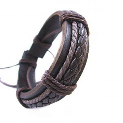Fashion Men Women DIY Knit PU Leather Bracelet Watch Band