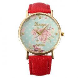Fashion New Retro Women Girl Tulip Flower Leather Alloy Wrist Watch