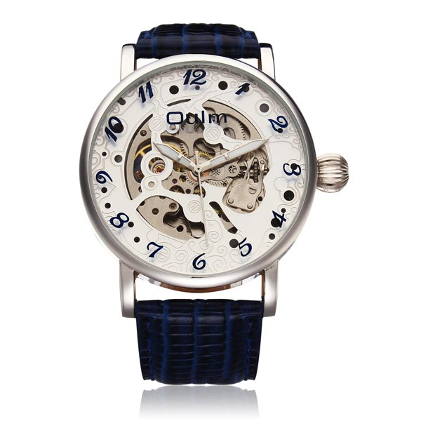 Mode Oulm Mechanische große Zifferblatt Männer PU Leder Armbanduhr Uhren
