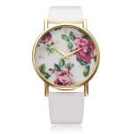 Art und Weise PU Leder Rose White Band Kristall Damen Quarz Armbanduhr Uhren