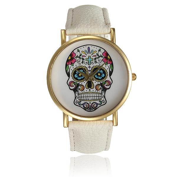 Fashion Skull Golden Round Dial Women PU Leather Quartz Wrist Watch Watch