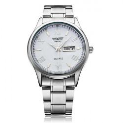 Fashion Stainless Steel Roman Silver Men Quartz Wrist Watch