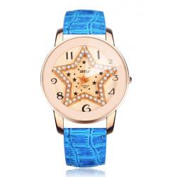 Fashion Star IBELI Kristall Damen Leder Quarz Armbanduhr