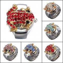 Fashion Steel Frog Rhinestone Crystal Fingerklocka