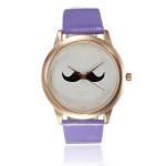 Fashion Unisex Mustache Beard PU Leather Quartz Lovers Wrist Watch Watch