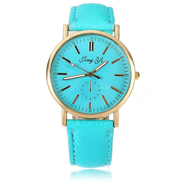Fashion Unisex Ren Färg Golden Rund Urtavla Quartz Armbandsur Klockor