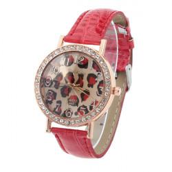 Mode WoMaGe Red Crystal Leopard Læder Dameure Quartz Armbåndsur