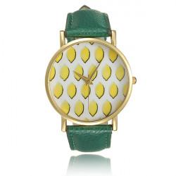 Fashion Woman Fruit Lemon Golden Round Quartz Wrist Watch