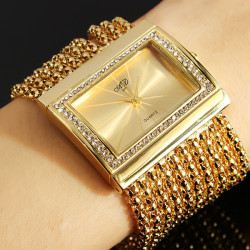 Fashion Women Alloy Gold Rectangle Crystal Bracelet Chain Quartz Watch