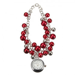 Mode Dam Pärlor Cuff Quartz Kedjearmband Armbandsur