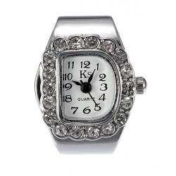Mode Frauen Kristall D Quarz Finger Ring Uhr Einstellbare