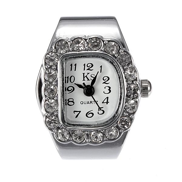 Fashion Women Crystal D Quartz Finger Ring Watch Adjustable Watch