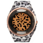 Fashion Women Sexy Leopard Brilliant Crystal Fur Big Wrist Watch Watch