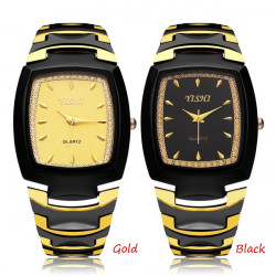 Fashion YISHI Stainless Steel Gold Black Men Wrist Quartz Watch